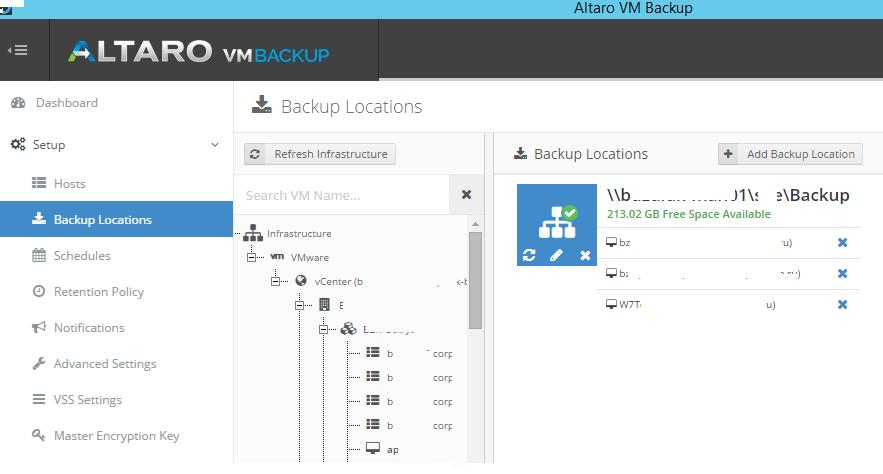 assign vmware vms to backup location