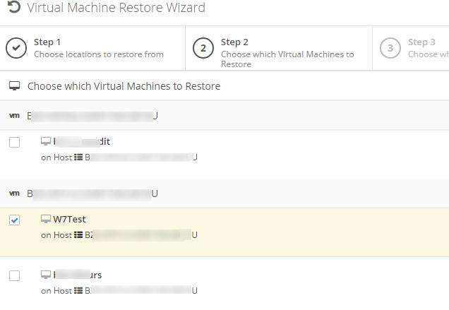 choose vm to restore