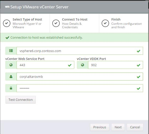 connect Altaro to VMWare vCenter