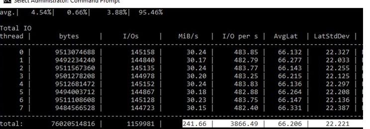 diskspd: get disk average iops and latency values