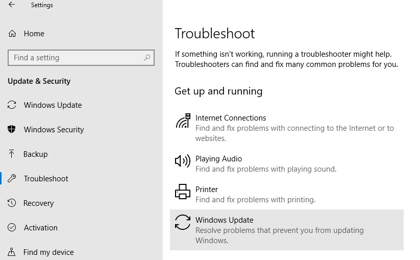 win10: Windows Updates Troubleshooter-tool