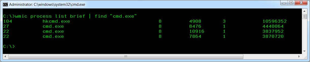 "wmic process list brief | find ""cmd.exe"""