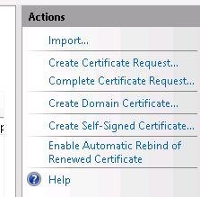 IIS Create Self-Signed Certificate