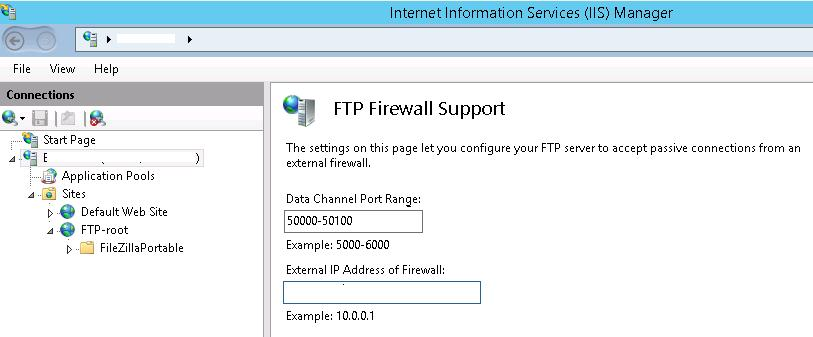 FTP Firewall port range