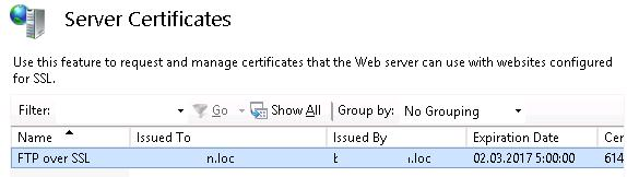 ftp over ssl certificate