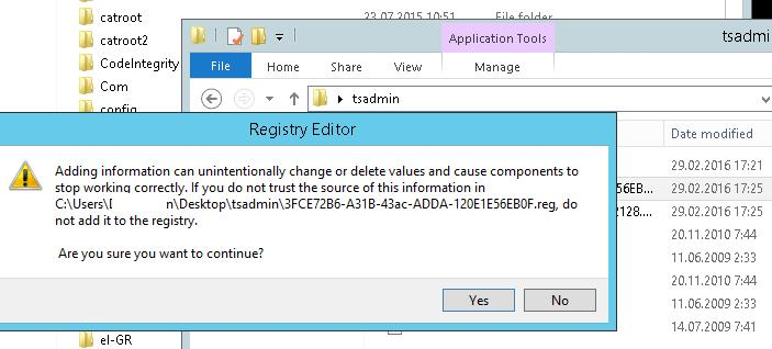 import registry files