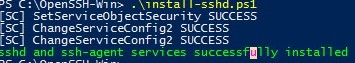 install openssh (sshd service) with powershell script