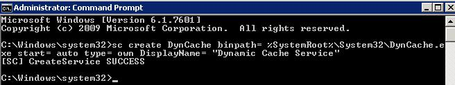 install DynCache service