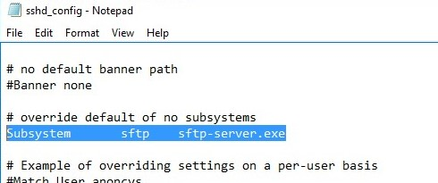 openssh sshd_config file in windows