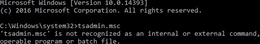 tsconfig.msc console missing on windows server 2016 rds