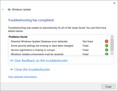 windows update troubleshooter fixed error