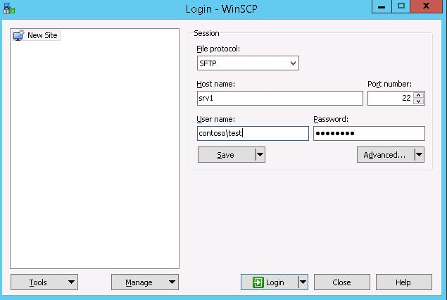 WinSCP test sftp connection