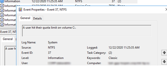 A user hit their quota limit on volume - EventID 37, source Ntfs