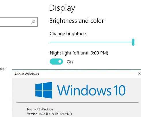 Can't control screen brightness after installing Windows 10 1803 April Update
