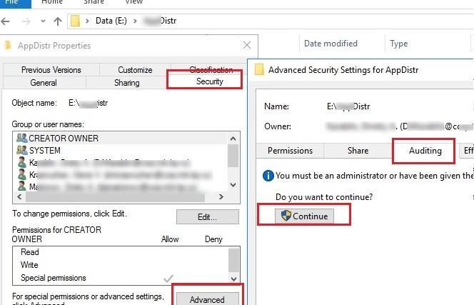 configure audit settings on a shared folder