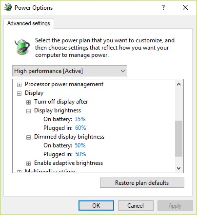 disable adaptive brightness in win10