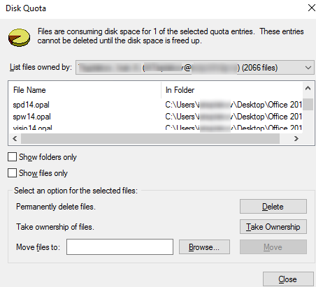 disk quota - consuming disk space