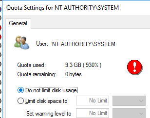 do not limit disk usage for built-in system accounts