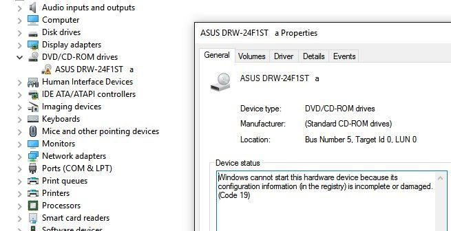 cd/dvd drive not detected after upgrade to windows 10