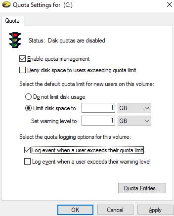 enable quota management on windows 10/server 2016