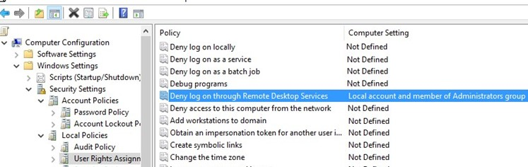 GPO: Deny log on through Remote Desktop Services under local user and admin accounts