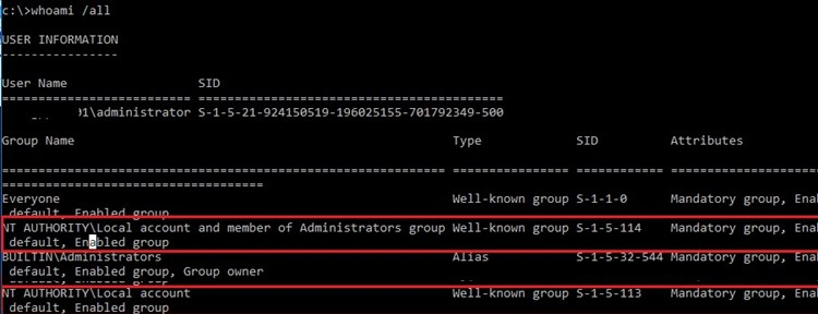 Well-known security group NT AUTHORITY\Local account and member of Administrators group S-1-5-114