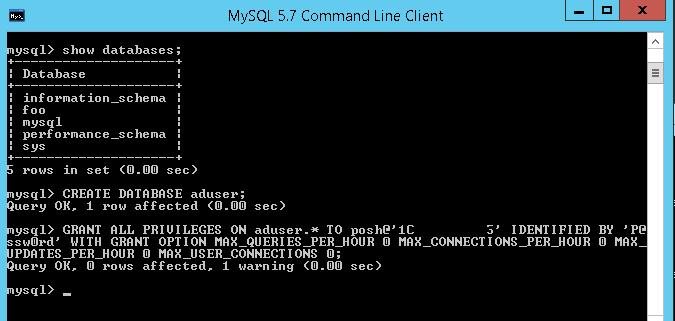 mysql create db ant grant privileges from powershell