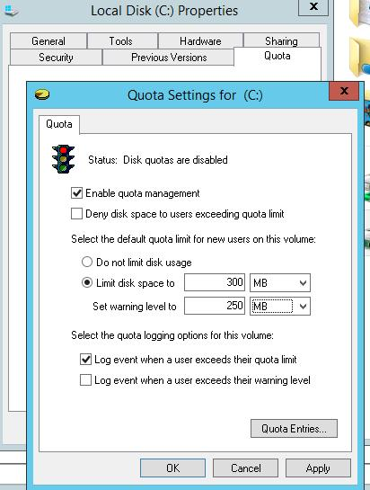 NTFS quota settings