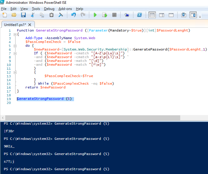 powershell function GenerateStrongPassword and check it comliance with the domain password policy