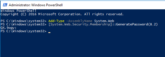 powershell GeneratePassword using the System.Web.Security class