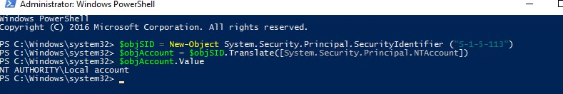 powershell: get local well-known group by sid