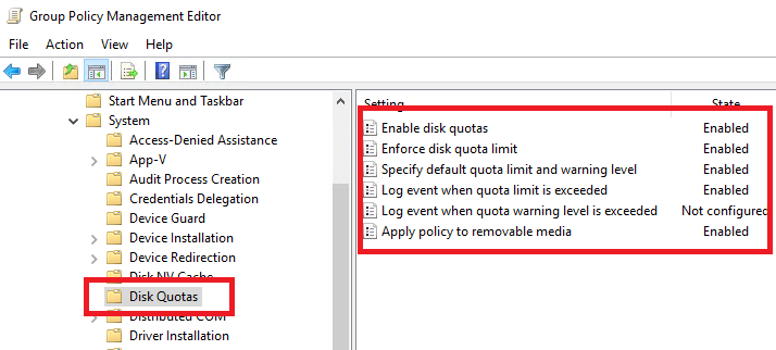 setting Disk Quotas parameters with Group Policy