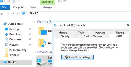 Show Quota Settings on Windows
