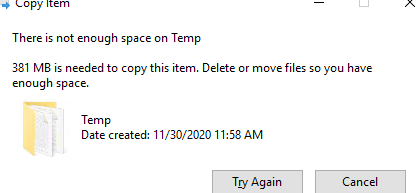 There is not enough space on - disk quota warning