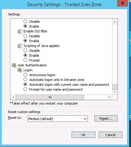 ie11 Automatic logon with current user name and password