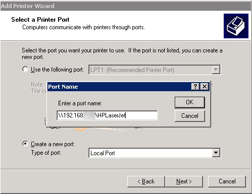 XP add printer using local port with unc path
