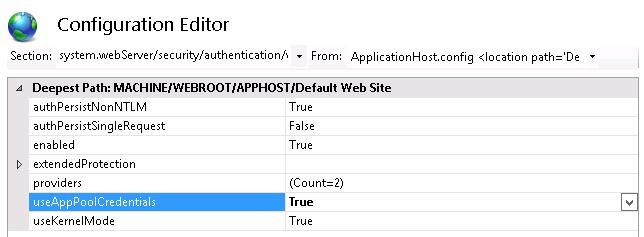 useAppPoolCredentials