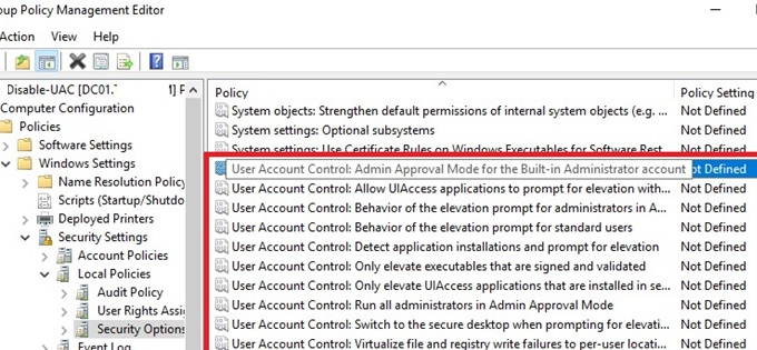 user account policies in GPO editor