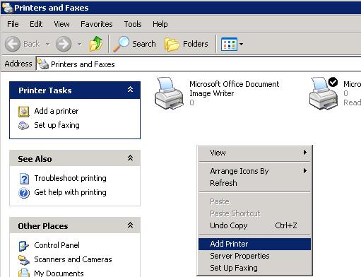 on a computer running windows xp open control panel printers and faxes and start add printer wizard add printer
