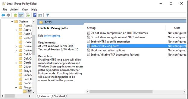 Enable NTFS long paths - group policy