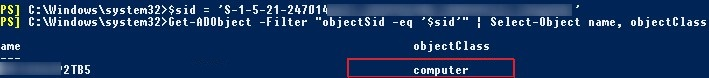 Get-ADObject find Active Directory object by SID
