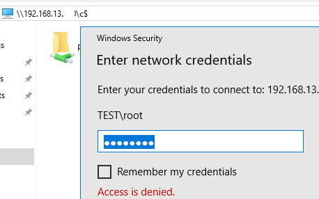 Can't access ADMIN$ share remotely under admin accounts