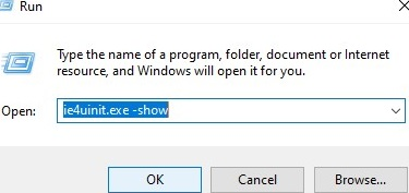 ie4uinit command used to refresh iconcache on windows 10