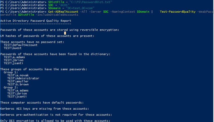 test-passwordquality - find weak active directory passwords with powershell