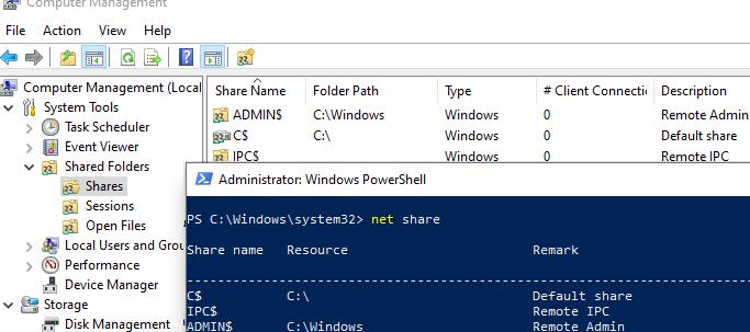 view a list of hidden administrative shares on windows 10 (Admin$, IPC$, C$, D$)