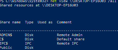 view admin shares on remote computer cmd: net view \\computername /all