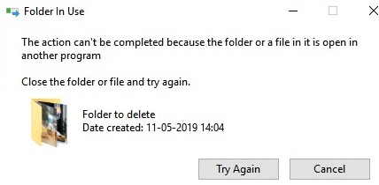 Can't delete folder because thumbs.db file is in use