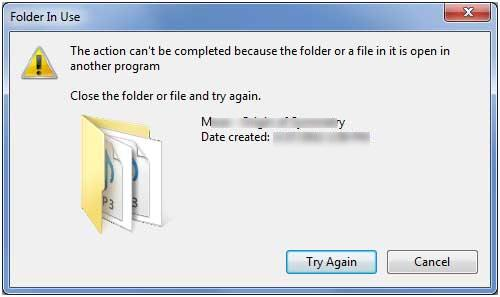 Folder In Use The action can't be completed because the folder or a file in it is open in another program