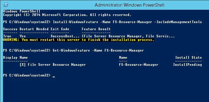 Install-WindowsFeature FS-Resource-Manager