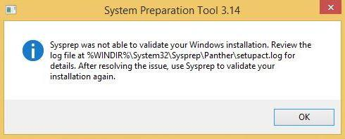 Sysprep was not able to validate your Windows installation